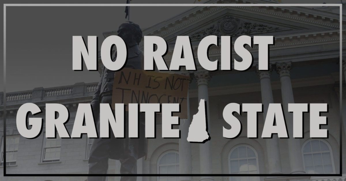 """black and white photo of a statue and the text """"No Racist Granite State"""""""